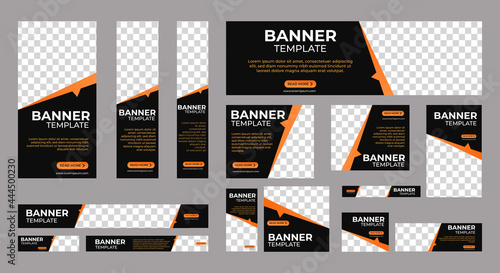 Canvastavla Set of Corporate Business web banners with standard size and place for images