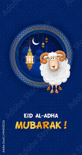 Eid Mubarak celebration Greeting card. Festive design for Muslim festival Eid Al Adha with sheep, silhouette of mosque, lanterns and crescent on night blue background. Vector illustration.