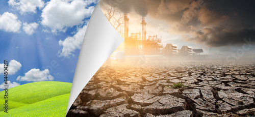 Foto The picture of the industrial environment and the arid environment caused by the greenhouse effect of the environment open paper next page into a complete environment