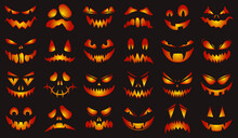 Spooky Halloween Faces. Happy Halloween Glowing Pumpkins Scary Faces Isolated Vector Illustration Set. Halloween Pumpkin Carving Faces