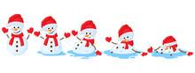Cartoon Melted Snowman. Snowmen Melting Stages, Winter Funny Melts Snowman Cartoon Vector Illustration Set. Christmas Melting Snowman