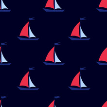 Seamless Background. Sailboat On A Dark, Blue Background. Marine Pattern For Fabric, Clothing, Textile, Wrapping Paper. Vector, Illustration