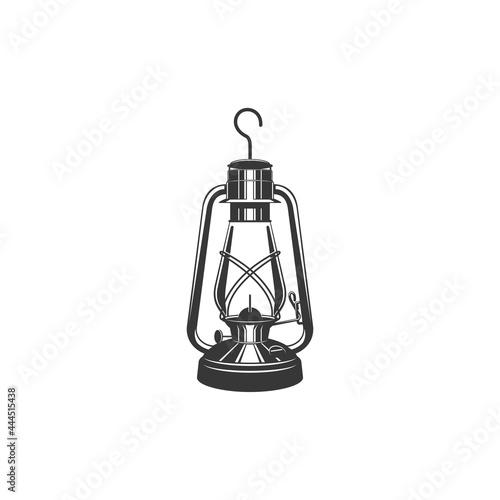 Fototapeta Antique glass kerosene lantern with metal handle isolated monochrome icon