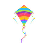 Kite flying Makar Sankranti festival, Indian holiday symbol isolated controllable object in kiteboarding kitesurfing. Vector rainbow color kite with strings or thread, summer holiday leisure hobby