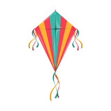Color kite with strings isolated summer fest holiday symbol. Vector kitesurfing flying object, leisure sport activity object with strings, Uttarayan festival symbol with tail, Sankantri fest