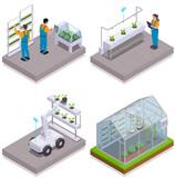 Modern Greenhouse Isometric Icon Set