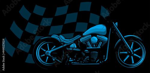 Fotografie, Obraz Old vintage black bobber bike with race flag