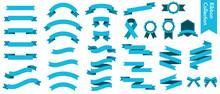青いリボンのベクターイラストセット(xmas,X'mas,クリスマス,シームレス,フラット,水色,バレンタイン,ホワイトデー)