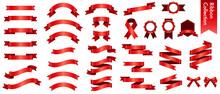 赤いリボンのベクターイラストセット(xmas,X'mas,クリスマス,グラデーション,立体,バレンタイン,ホワイトデー)