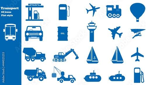 Obraz na plátně Transport routier, aérien et maritime en 20 icônes bleus, collection