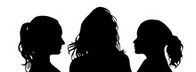 Heads Of Beautiful Girls Silhouettes. Vector Illustration