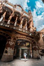 Exterior Of Palau De La Musica Catalana, Modernist Concert Hall In Barcelona, Catalonia, Spain