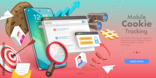 Photo 3D Vector Conceptual Illustration of Mobile Cookie Tracking, Website Privacy Pol