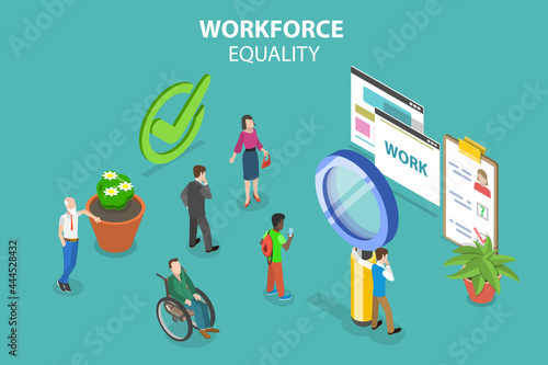 Fotografiet 3D Isometric Flat Vector Conceptual Illustration of Workforce Equality, Human Re
