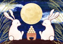 手書きのお月見イラスト 水彩 十五夜 満月 ウサギ 団子 背景素材