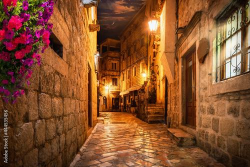 Tablou Canvas Illuminated night street