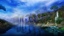 Fantastic Landscape With River, Aqueduct And Waterfall, 3D Render.