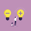 Positive and negative thinking, inspiration and motivation concept, businessman choosing light bulb with plus sign instead of one with minus