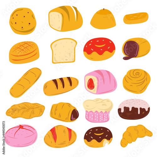 Fotografie, Obraz selection of bread doodle style