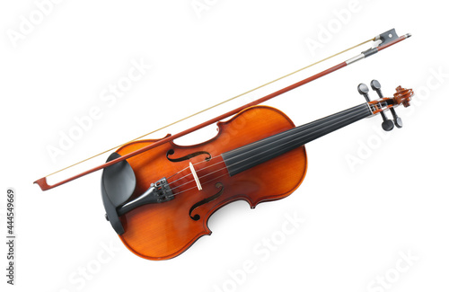 Beautiful violin with bow on white background, top view Fotobehang