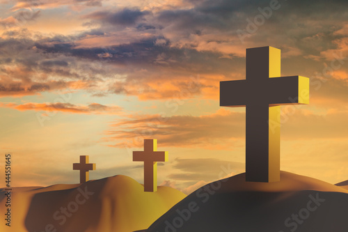 Fotografering Three Christian crosses on the mountains