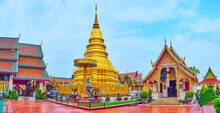 The Golden Chedi And Phra Chao Lawo Shrine Of Wat Phra That Hariphunchai Temple, Lamphun, Thailand