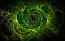 3D Rendering Abstract Green Fractal Background. Fantasy Pattern For Decoration Design.
