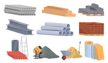 Collection Construction Materials Vector Flat Illustration. Heaps Of Building Material