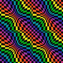 Rainbow Squares In Diagonal Position And Convex Canvas. Vector Black Background And Colorful Flowing Colors.