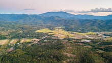 Aerial View Pai City. Pai Is A Small Town In Northern Thailand's Mae Hong Son Province