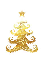 Christmas Tree Of Gold Foil