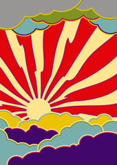 Psychedelic Sky Vector Illustration 1960s hippie Art style