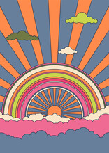 Psychedelic Sky Vector Illustration, 1960s Hippie Art Style Posters, Covers Template