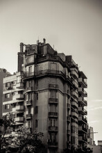 Group Of Old Black And White Buildings