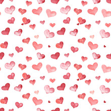Red Hearts Seamless Pattern. Watercolor Hand Drawn Elements On White Isolated Background. For Wrapping Paper, Fabric, Wedding Decor, Valentine's Day's Giftware.