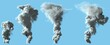 4 different renders of heavy white smoke column as from volcano or huge industrial explosion - pollution concept, 3d illustration of object