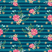 Pink Wild Flowers With Stripes Pattern