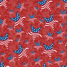 Illustration Red, White And Blue USA Flag Stars Pattern Background That Is Seamless