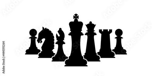 Billede på lærred Vector chess pieces team isolated on white