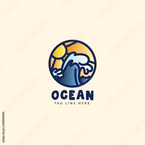 Canvas great wave hokusai ocean Logo design