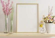 Interior Poster Mockup With Vertical Gold Chrome Frame In Home Interior Background.