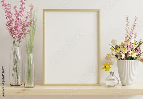 Fotografie, Obraz Interior poster mockup with vertical gold chrome frame in home interior background