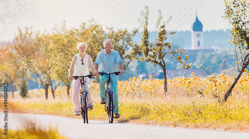 Fototapeta premium Senior couple, woman and man, riding their bikes along field of sunflowers