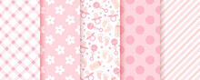 Baby Pink Seamless Patterns. Pastel Background. Baby Girl Geometric Print. Vector. Set Of Kids Textures. Cute Childish Backdrop With Polka Dot, Stripe, Bottle, Footprint And Check. Modern Illustration