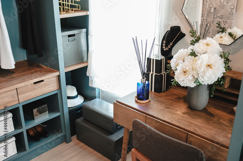 Murais de parede Dressing table made of wood in the walk in closet