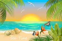 Tropical Beach On The Background Of The Sea.Tropical Beach, Butterflies And Palms On The Background Of The Sea In Vector Illustration.