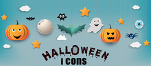 Halloween Background.pumpkins With Old Tomb.They Are On Tree Background.Ghost And Flying Bats, Tomb,scary,decoration.Vector Halloween Party Decoration And Flat Style Concept.