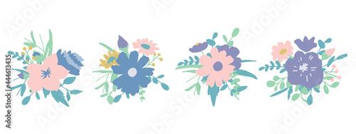 Foto 手書きの草木と花。夏カラーの花束。ベクターイラスト Handwritten vegetation and flowers