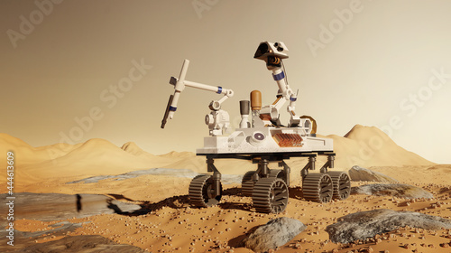 Fotografiet A robotic rover mission to  Mars, exploring and performing science experiments on the martian surface
