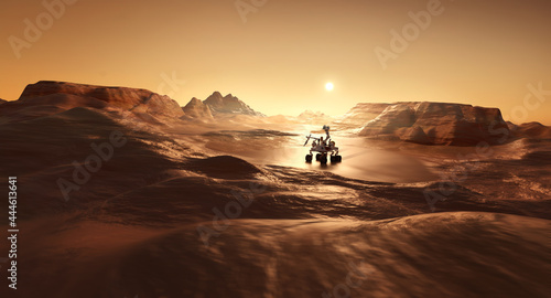 A rover on the surface of mars looking for signs of life. Science and exploration 3D illustration.
